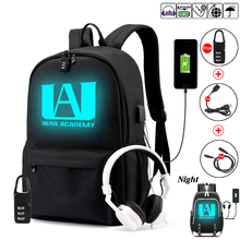 My Hero Academia Backpack for Teenage Boys Girls Luminous School Bag Usb Charging Anti Theft and Waterproof  Canvas Backpack