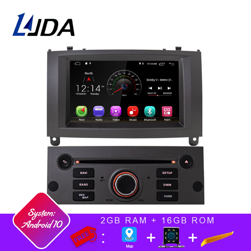 LJDA 1 Din Android 10,0 Car Radio para Peugeot 407, 2004-2010 coche Multimedia Player Stereo audio de coche GPS navegación DVD Video IPS