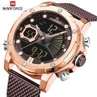 Marca de luxo naviforce relógios do esporte dos homens quartzo cinta aço à prova dmilitary água militar relógio de pulso digital relogio masculino