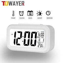 Светодиодный цифровой будильник, электронный цифровой будильник с экраном, настольные часы для дома, офиса, подсветка, Повтор сигнала, кале...