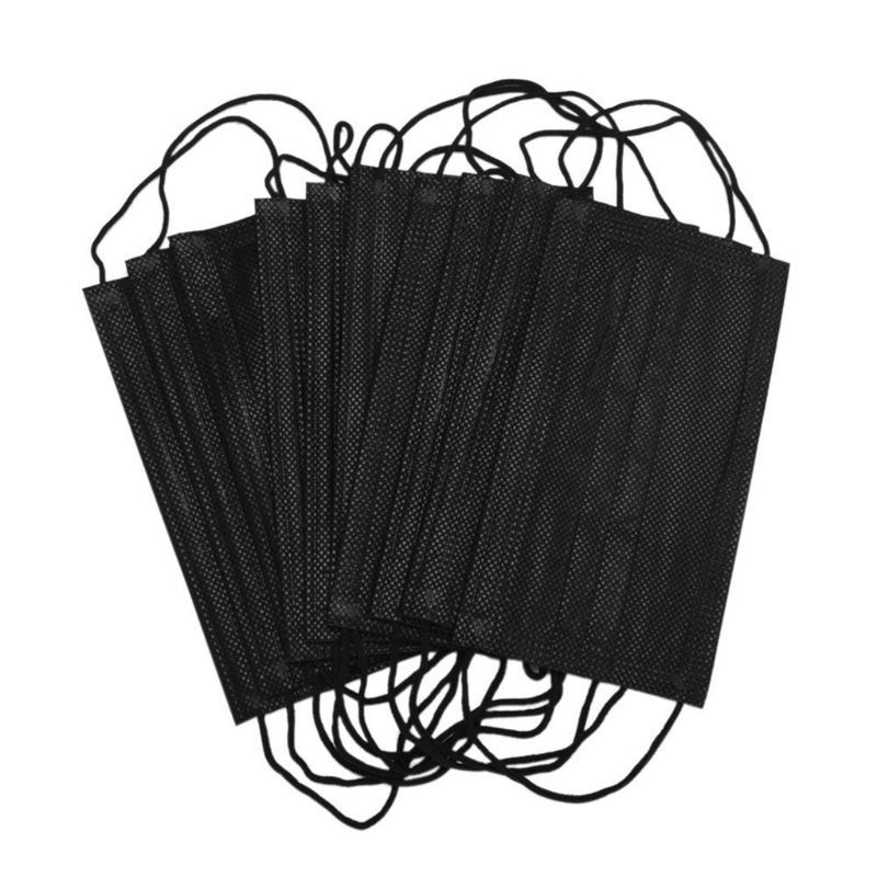 50PCS Mouth Mask Disposable Non-Woven Black Face Mouth Masks 3 Layer Anti-Dust Activated Anti Pollution Mouth-muffle 17.5x9.5cm