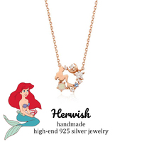 Herwish Little Mermaid Pendant Necklace Opal 925 Sterling Silver Star Ariel Princess Collection for Women Jewlery