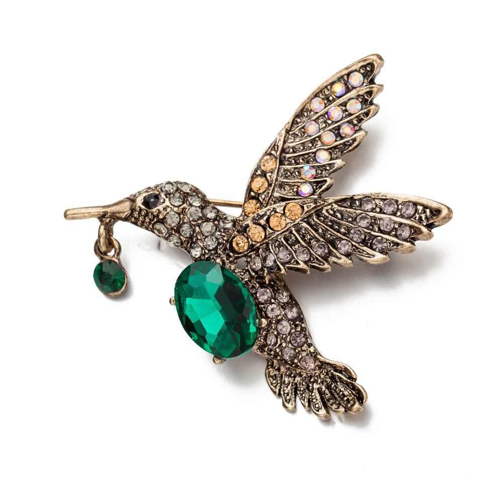 Vintage di Colore Dell'oro Uccello Spille Spille Per Le Donne E Gli Uomini Retro di Cristallo Verde Spilli Spilla Partito Matrimoni Banchetto