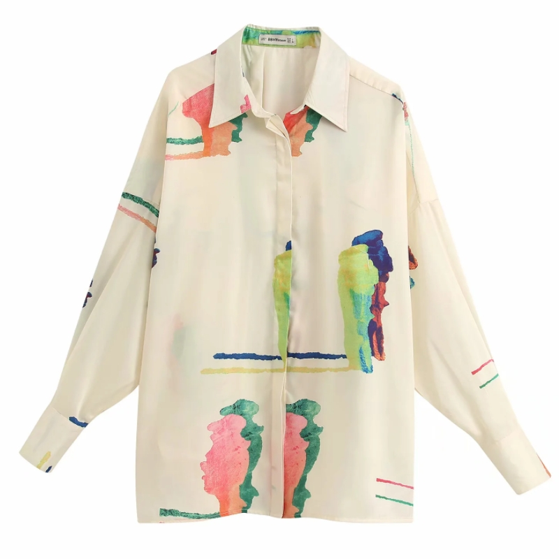 Hot Sale Women Printing Casual Loose Blouse Shirts Women Long Sleeve Chic Business Blusas Office Femininas Chemise Tops LS6395