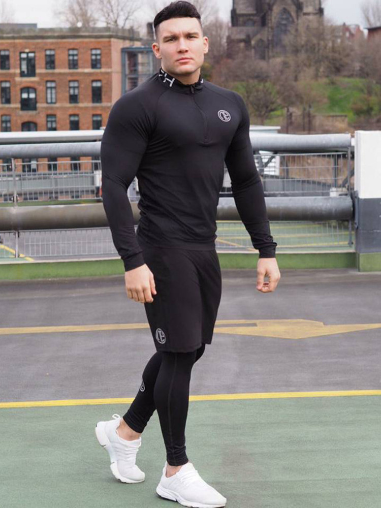 New Men Fitness Three-piece Bodybuilding Cycling Stretch Tracksuits Tight Long Sleeve Sportswears+Men's 2 In 1 Leggings Pants