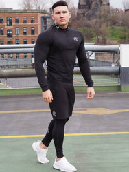 New Men fitness three-piece Bodybuilding cycling stretch tracksuits Tight long sleeve Sportswears+Mens 2 in 1 leggings pants
