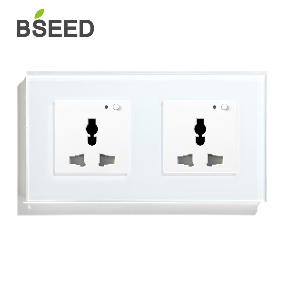 BSEED Multifunction Wifi Socket Wall Smart Outlet Crystal Panel Black White  Golden 13A For Home