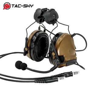 Image 2 - TAC SKY COMTAC tactical stand headset comtac iii doppio passaggio del silicone paraorecchie casco del basamento militare walkie talkie auricolare tattico