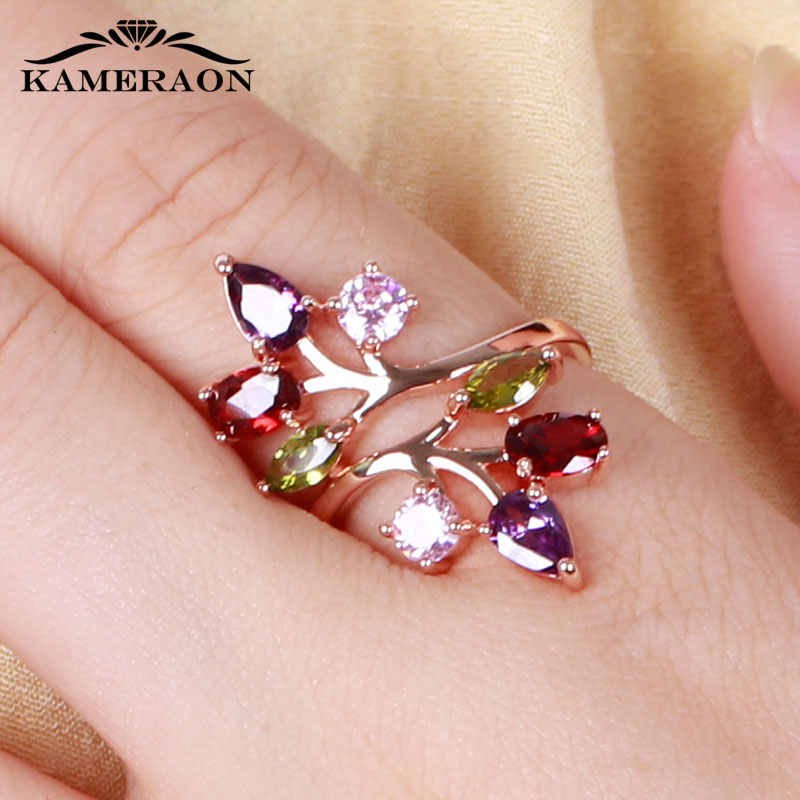 Original 9 Styles Multicolor Funkelnden Frauen Ring Boho Stilvolle CZ Zirkon Kristall Blume Schmuck Rosen gold Design Party Ringe