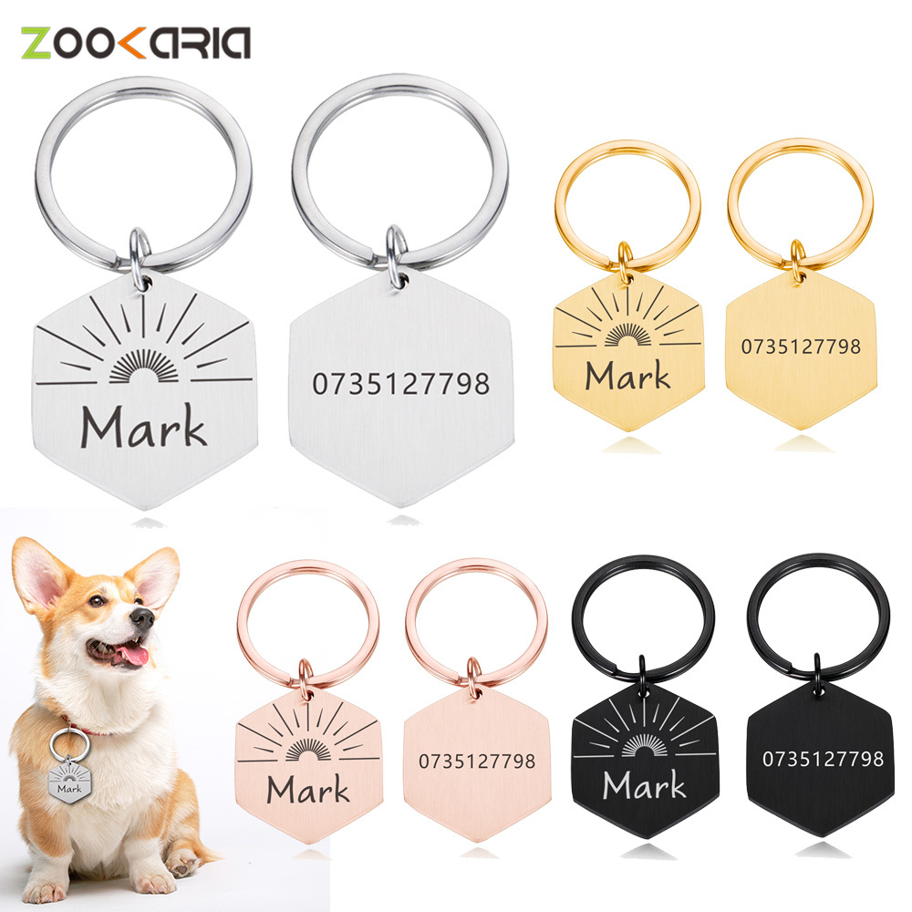Personalized Pet ID Tags Customized Cat Collars With Name And Number Tag For Dogs Engraved Pendant Keyring Chain Pet Accessories