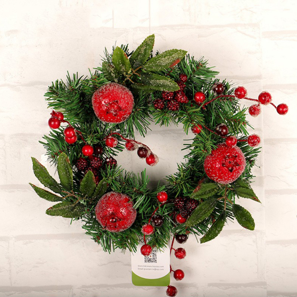 1pc New Christmas Decoration Wreath With Frost Pomegranate Garland Hotel Living Room Home Pendant