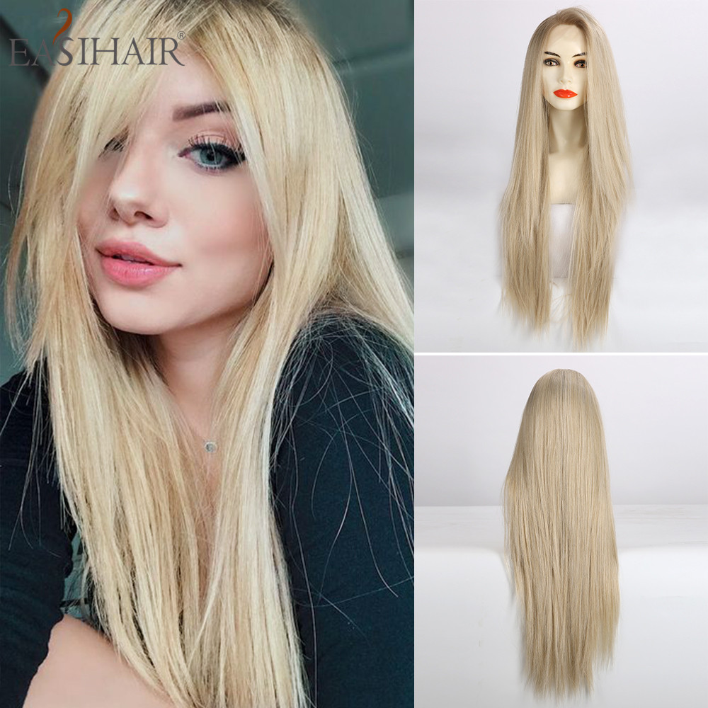 EASIHAIR Long Blonde Straight Lace Front Synthetic Wigs Lace Wigs for Women Layered High Density Cosplay Wigs Heat Resistant