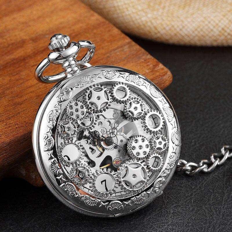 Relógio de Bolso Steampunk do Vintage Caixa de Presente do Case da Aleta Mens Mecânico Roda Dentada Relógio Vento Mão Esqueleto Colar Mulheres Homens