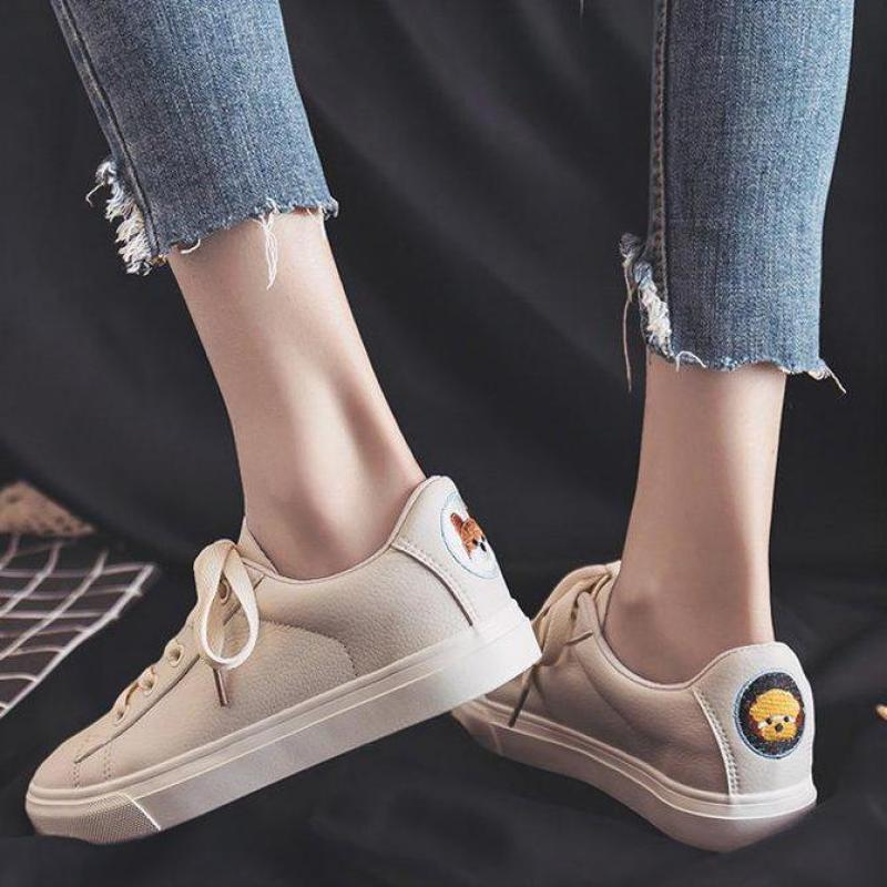 Women Casual Vulcanized Shoes 2020 Cute Cartoon Fashion Sneakers Canvas Shoes PU Comfortable Classic Ladies White Shoes Women