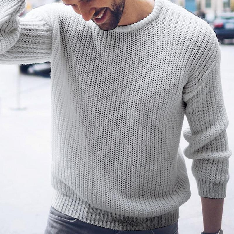 Autumn And Winter New Men's Sweater Casual Large Size Pullover Knit Solid Color Long Sleeve Warm Pullover Sweater