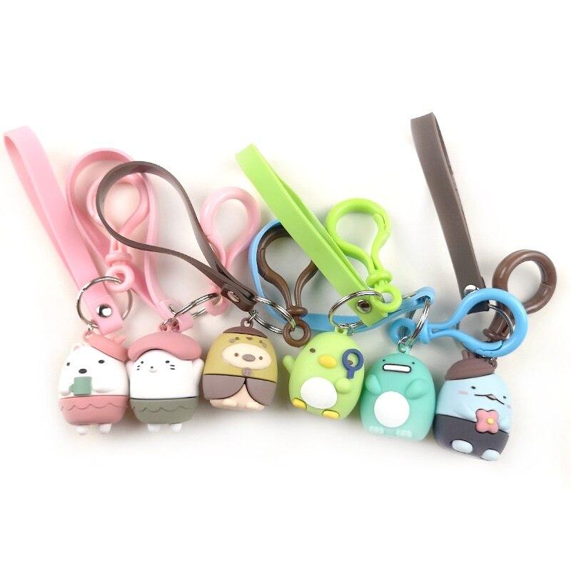 Sumikko Gurashi Corner Creature Cute Dolls Cartoon Pvc Soft Keychain Girls Bag Decor Key Pendant Kids Toys For Children Gift