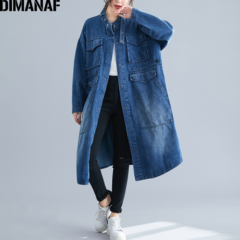 DIMANAF Plus Size Women Jackets Outerwear Fashion Lady Demin Coats Autumn Winter 2019 Long Sleeve Loose Cardigan Female Clothing