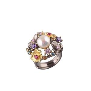 Image 5 - GEEZ925 Sterling Zilveren Bloemen Barok Parel Ring Designer Sieraden Voor Vrouwen 2019 Nieuwe Vintage Romantische Open Ring Party Vrouwelijke