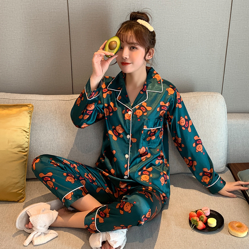 Viscose Pajamas Women's Spring And Autumn Long Sleeve Cartoon Bear Two-Piece Set Silk Thin Korean-style Summer Home Wear