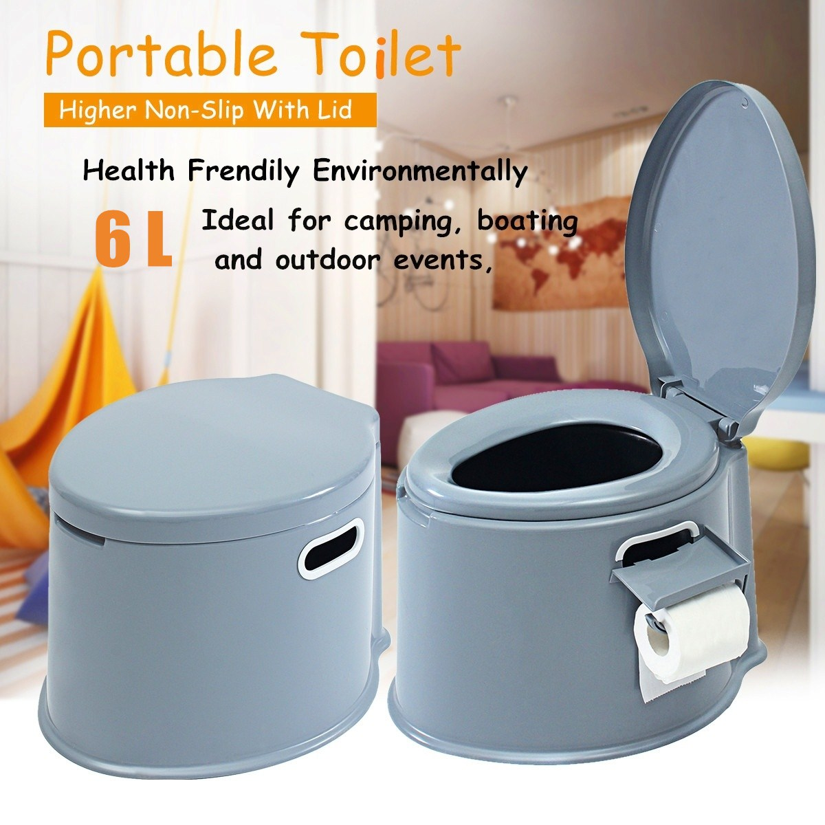 Portable 6L Large Adult Toilet Outdoor Camping Hiking Elderly Travel Disabled Handicapped