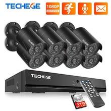 Techege h.265 8ch nvr 48v poe 1080p, cctv, câmera de 2mp ip, gravação de áudio, à prova d água, detecção de movimento sistema de câmera de segurança