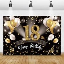Laeacco Golden ลูกโป่งสีดำ Glitter 18th 16 20 30 40 50 60วันเกิด Party Custom ฉากหลังฉลองโปสเตอร์ภาพพื้นหลัง