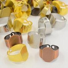 200 Tamanho pçs/lote 6 (16.5mm) Punho de Bronze Bases Almofada Anel Liso Anéis de Ajuste com Componentes 15x11 milímetros Bandeja Atacado