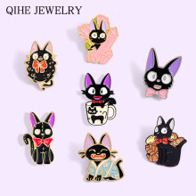 Sorcière chat JIJI émail broches japonais Anime Animal chaton barbe à papa pain tasse cristal colonne animaux broches Badge broche en gros(China)