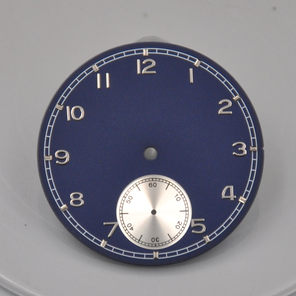 Corgeut Mens Watch Parts 38.9mm blue Dial white Subdials Watch Dial fit 6498 <font><b>st3600</b></font> Hand Winding Movement image