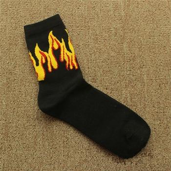 Red Yellow Flame Crew Socks Lifelike Fire Socks Men Hip Hop Design Classic Street Skateboard Cotton Long Unisex Socks 7