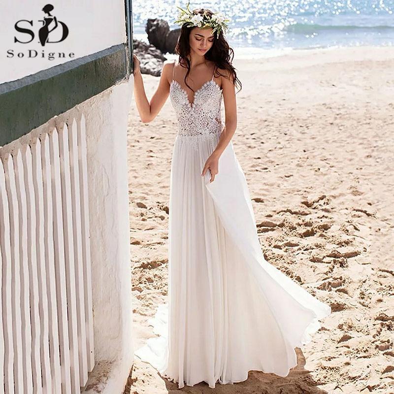 SoDigne Beach Boho Wedding Dresses Lace Appliques Bridal Dress Plus Size Sexy Backless Chiffon Wedding Gown Vestido De Noiva