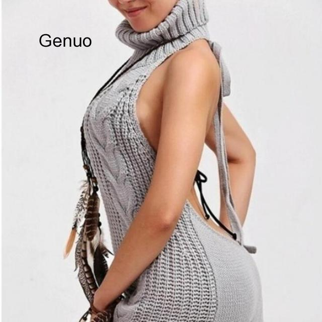 2020 Summer New Turtleneck Sleeveless Long Virgin Killer Sweater Japanes Knitted Sexy Backless Women Sweaters And Pullovers 3