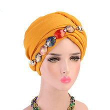 Turban Cap Agate Diamond Jewelry Necklace Scarf Bali Yarn Wrapped Head Hat Jewelry Scarves Headscarf Headwrap For Women Muslim