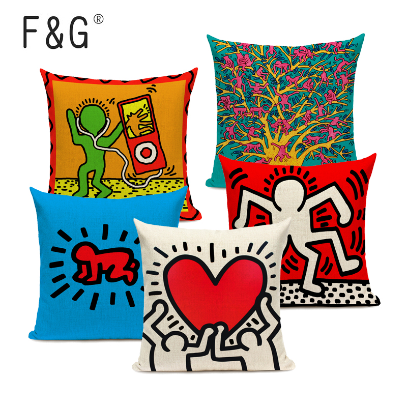 Pop Art Figures Graffiti Cushion Cover Colorful Abstract Art Decorative Pillowcase Square Linen Throw Pillows Cover