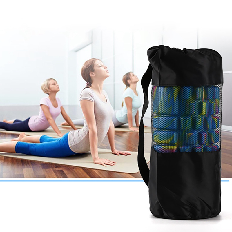 Yoga Mat Storage Mesh Bag Adjustable Strap Drawstring Bags Carrier Gym Tool For Foam Roller TYX201