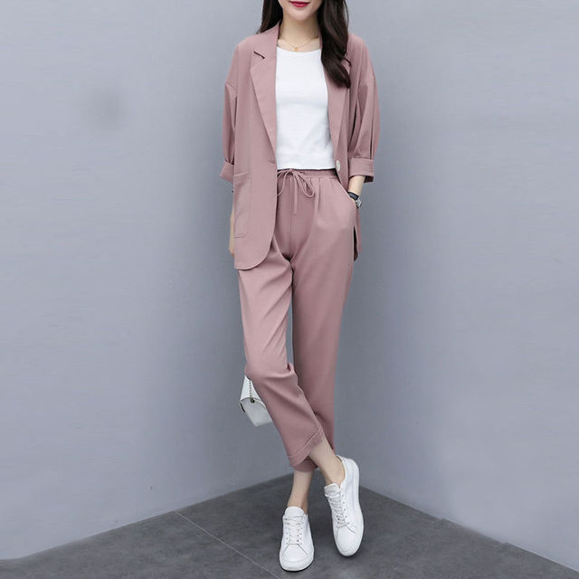 Two-piece 2021 new small suit jacket large size Korean version of loose slim casual suit suit women 5