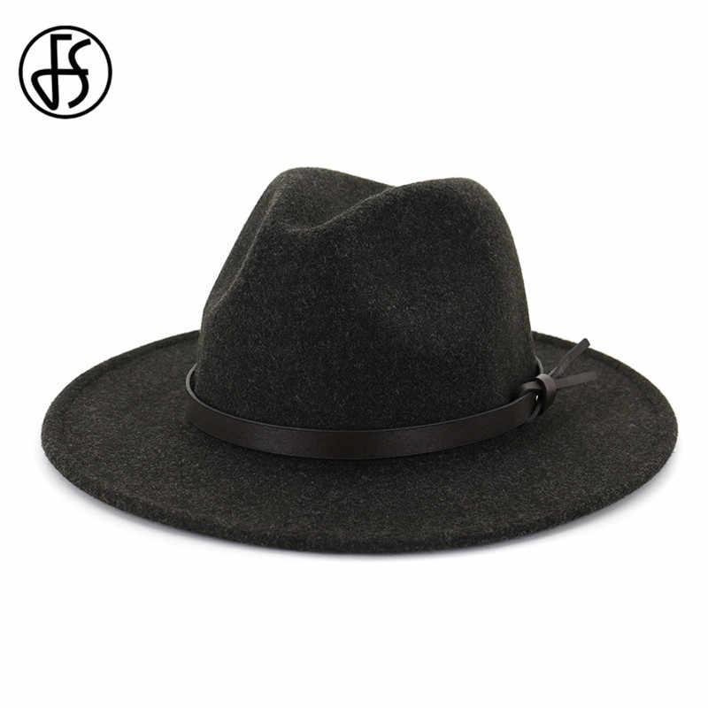FS Musim Gugur Musim Dingin Khaki Merasa Jazz Topi Bertepi Lebar Topi Wol Fedora Topi Blackcap Dangkal Top Fedora Topi Wanita cap