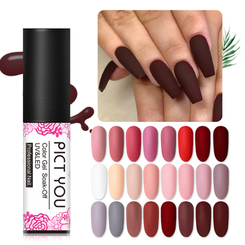 PICT YOU 5m Matte UV Nail Gel Polish Pink Black 45 Colors Nail Art Gel Polish Matte Top Coat Soak Off Gel Laquer Varnish varnish