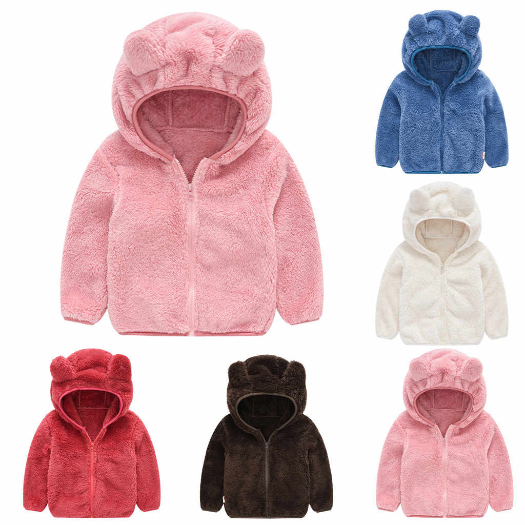 Toddler Kids Baby Gril Boy Cute Ear Zipper Solid Thick Hooded Coat Warm Outwear  Children's suit High Quality