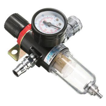 1 4 #8221 filtr do sprężarki powietrza zestaw Separator wody i oleju pułapka narzędzia z wskaźnik regulatora 40 mikronów filtracja cząstek stałych 30-120PSI tanie i dobre opinie 1 4 Air Compressor Filter Set 40micron 130PSI