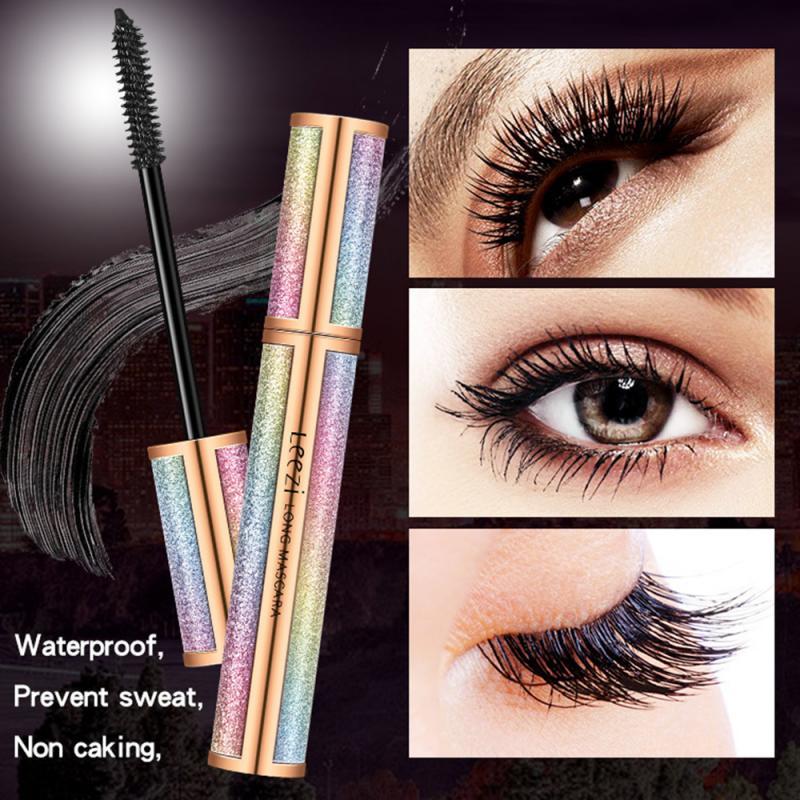 Leezi Mascara 4d Silk Fiber Lash Long Curling Mascara Makeup Eyelash Black Waterproof Extension Lengthening Eye Lashes Cosmetics