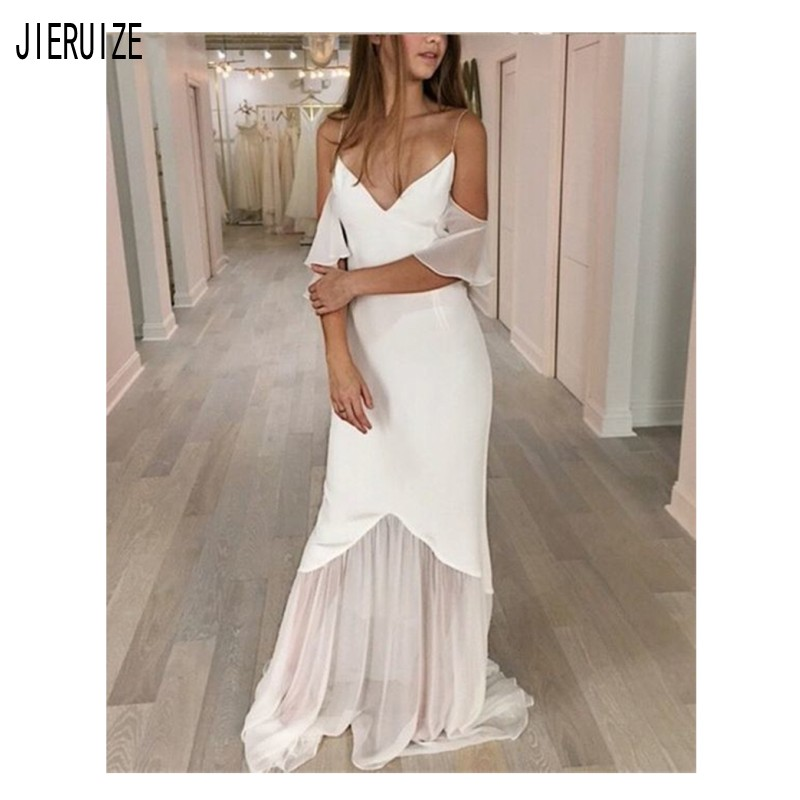 JIERUIZE Sexy Mermaid Wedding Dresses V Neck Backless Simple Off The Shoulder Beach Wedding Gowns robe de mariee Bride Dresses