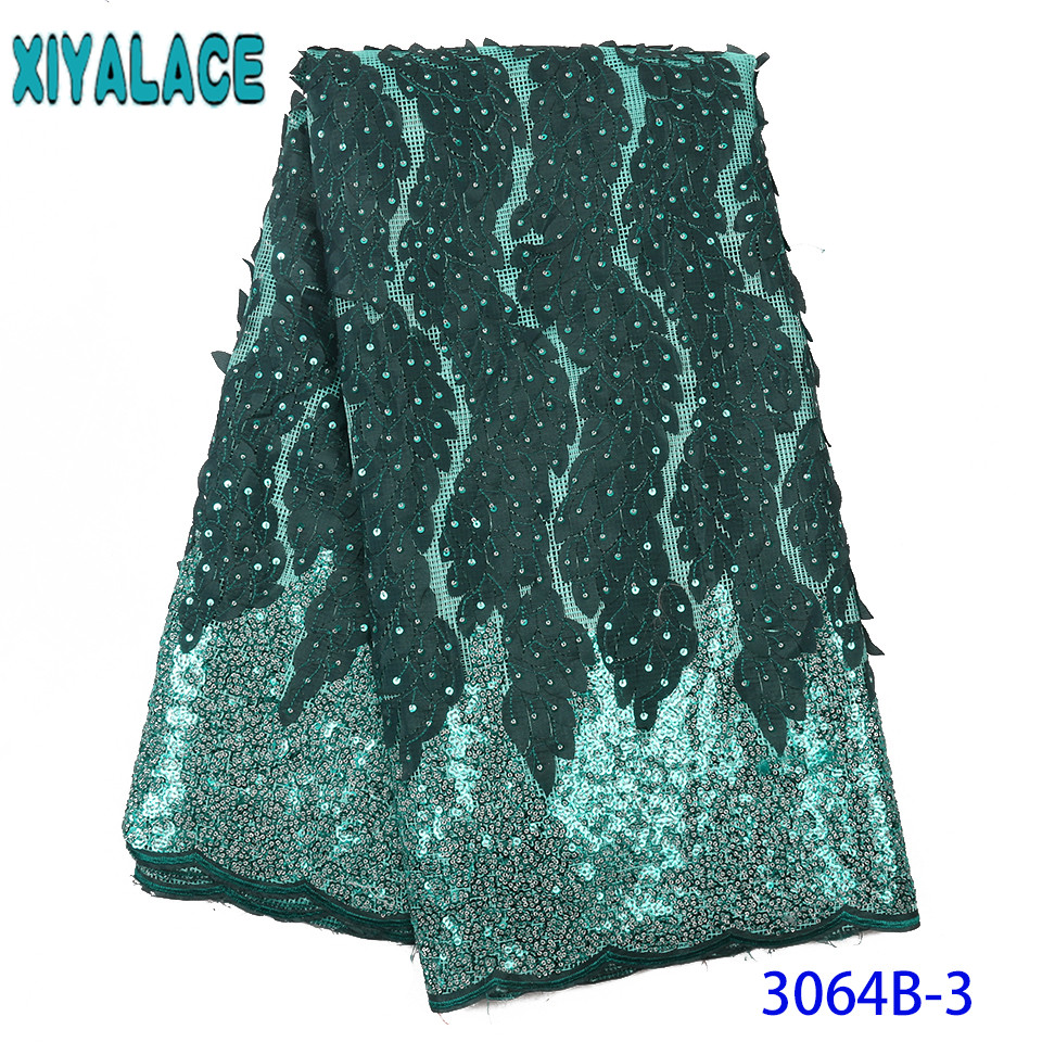 Nigerian Lace Fabric 2019 High Quality Lace New Sequin Fabric French Mesh Tulle Laces With Sequins For Women KS3064B