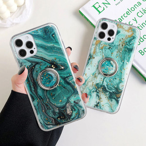 Image 5 - LOVECOM Vintage Gilt Gradient Marble Case With Ring For iPhone 11 12 Pro Max XR X XS Max 7 8 Plus Soft Epoxy Shockproof Cover
