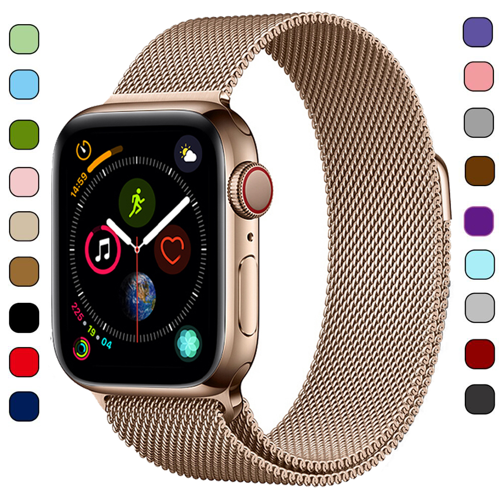 Milanese Loop Strap For Apple Watch Band 40mm IWatch 4 Band 44mm 42mm Mesh Bracelet Acorrea Apple Watch 4 3 38 Mm Accessories