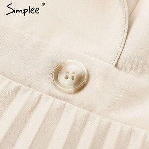 Image 5 - Simplee Kẻ Sọc Sang Trọng Lịch Lãm Nữ Đầm Công Sở Chắc Chắn Ngực Nữ Áo Đầm Thu Đông Tay Dài Sang Trọng Nữ Đầm Dự Tiệc