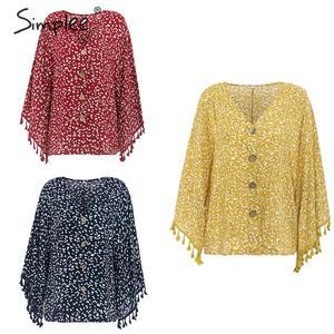 Image 5 - Simplee V neck bohemian button blouse shirt Women flare sleeve casual streetwear female blouse shirt Casual autumn tassel tops