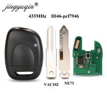 Jingyuqin chave de alarme remoto do carro apto para renault mestre kangoo clio twingo ne72 lâmina pcf7946 chip 433 mhz
