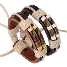 Retractable Cheap Handmade ethnic bracelets Unisex Girls Woman Leather Bracelet Wrist band spring Charm leather bracelet for men
