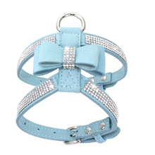 1PC Adjustable Soft Breathable Dog Harness Puppy Chest Strap Pet Collar Bling Rhinestone Leash with Bowknot